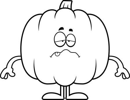 nauseous: A cartoon illustration of a pumpkin looking sick.