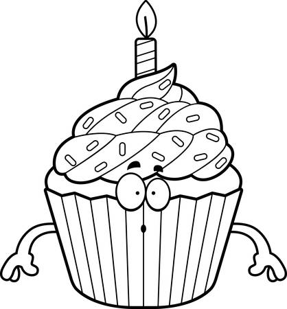 A cartoon illustration of a birthday cupcake looking surprised.