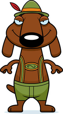 sly: A cartoon illustration of a dachshund in lederhosen with a sly expression. Illustration