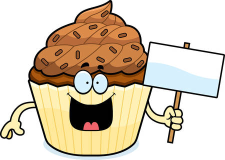 patty cake: A cartoon illustration of a chocolate cupcake holding a sign.