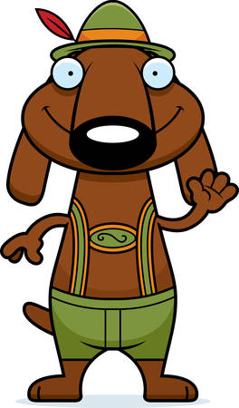 lederhosen: A cartoon illustration of a dachshund in lederhosen waving.
