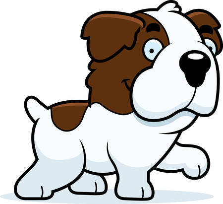 st bernard: A cartoon illustration of a Saint Bernard walking.