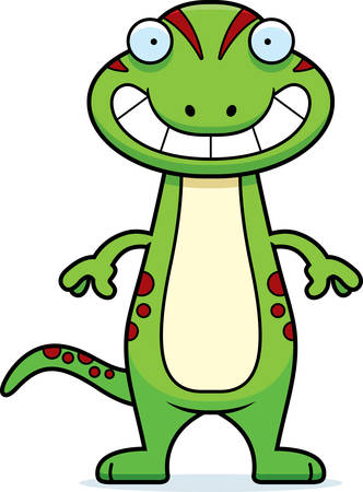 A cartoon illustration of a gecko looking happy. 일러스트