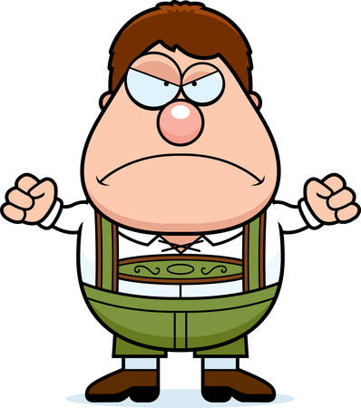 lederhosen: A cartoon illustration of a German boy in lederhosen looking angry. Illustration