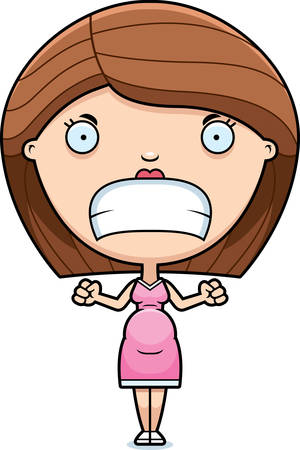 A cartoon illustration of a pregnant woman looking angry.