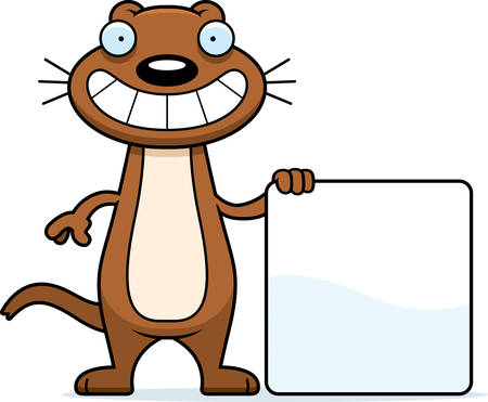 weasel: A cartoon illustration of a weasel with a sign. Illustration