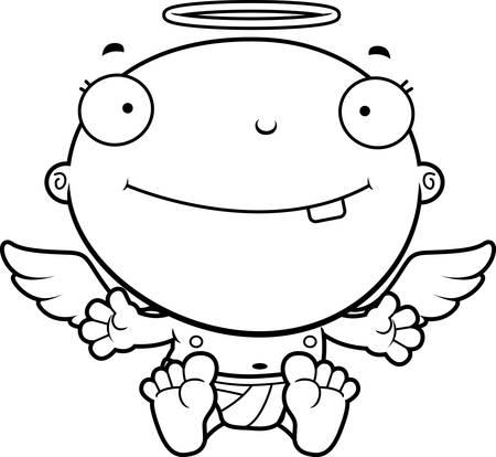 baby angel: Un fumetto illustrazione di un angelo bambino sorridente.