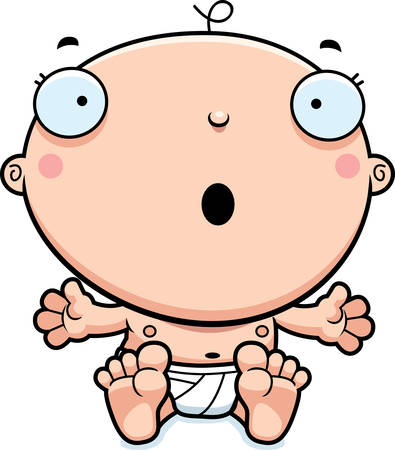 A cartoon illustration of a baby boy looking surprised. 向量圖像