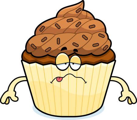 チョコレートのカップケーキを見て病気の漫画イラスト。  イラスト・ベクター素材