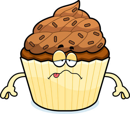 nauseous: A cartoon illustration of a chocolate cupcake looking sick.