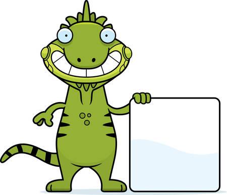 Een cartoon illustratie van een leguaan met een teken. Stock Illustratie