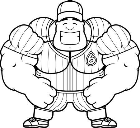 flexing: A cartoon illustration of a muscular baseball player flexing.