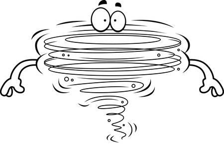 spin: A cartoon illustration of a tornado. Illustration