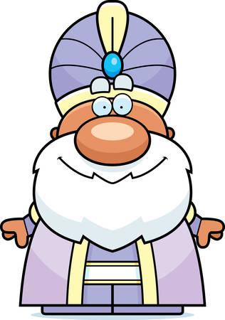A cartoon illustration of a maharaja looking happy. Illustration
