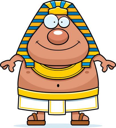 A cartoon illustration of an Egyptian Pharaoh looking happy.