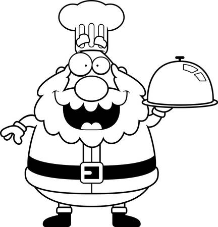 serving tray: A cartoon illustration of a Santa Claus chef with a serving tray.