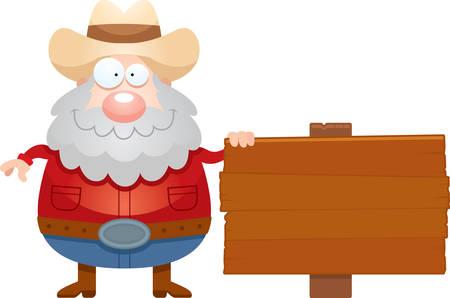 Een cartoon illustratie van een mijnwerker met een teken.