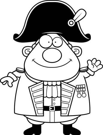 A cartoon illustration of a British Admiral waving.