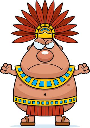 Une illustration de bande dessinée d'un roi aztèque regardant en colère.