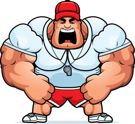 personal trainer: A cartoon illustration of a muscular coach yelling.