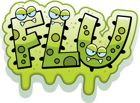 slimy: A cartoon illustration of the text Flu with a slimy germ theme. Illustration