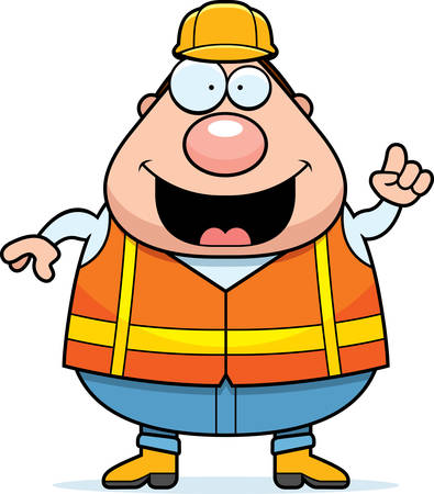road worker: A cartoon illustration of a road worker with an idea. Illustration