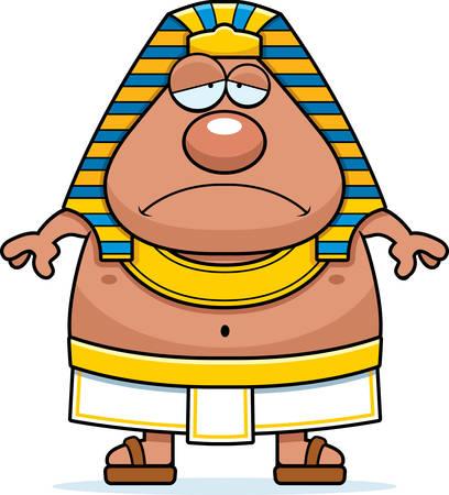 A cartoon illustration of an Egyptian Pharaoh looking sad. Ilustrace