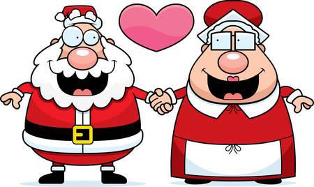 se�ora: Una ilustraci�n de dibujos animados de Santa Claus y la se�ora Claus de la mano y en el amor.