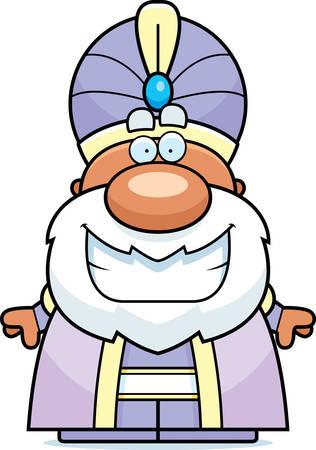 A cartoon illustration of a maharaja smiling.