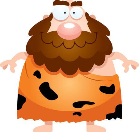 neanderthal: A cartoon illustration of a caveman looking happy.