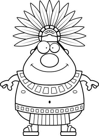 Une illustration de bande dessinée d'un roi aztèque air heureux.