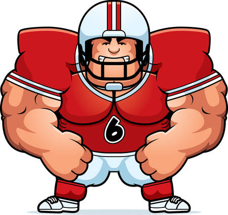 cartoon football player: A cartoon illustration of a muscular football player looking angry. Illustration