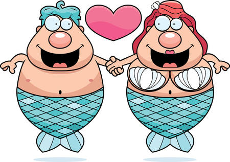 couple holding hands: A cartoon illustration of a mermaid couple holding hands and in love.
