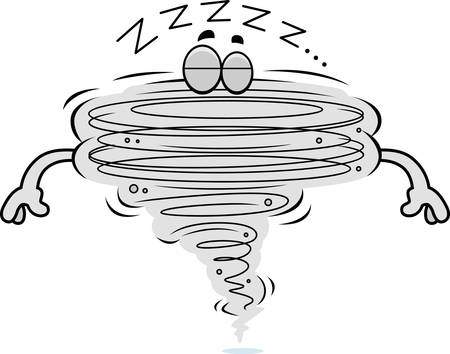 A cartoon illustration of a tornado sleeping. 向量圖像