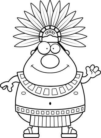 Une illustration de bande dessinée d'un roi aztèque agitant.