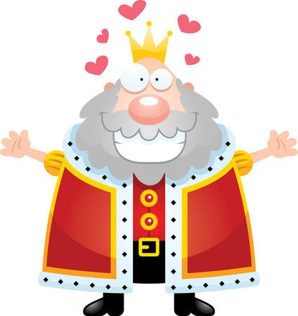 A cartoon illustration of a king ready to give a hug. Stock Vector - 44465916