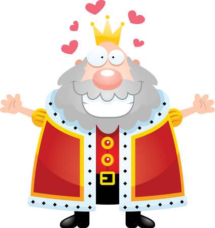 Un'illustrazione del fumetto di un re pronto a dare un abbraccio. Archivio Fotografico - 44465916