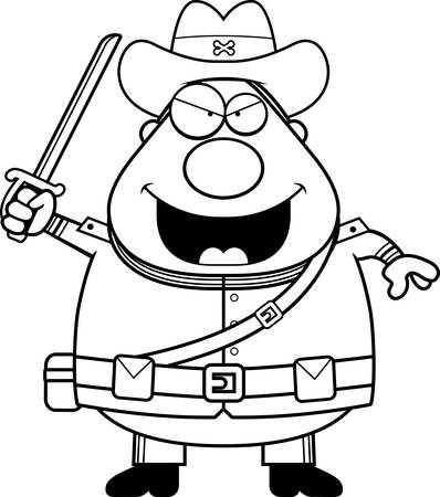 civil war: A cartoon illustration of a Civil War Confederate soldier looking angry.