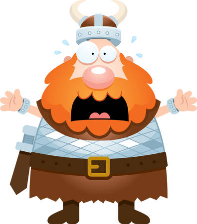 norse: A cartoon illustration of a Viking looking scared.