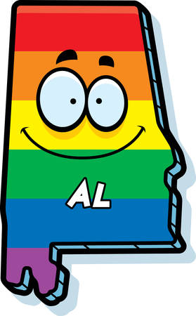 rainbow flag: A cartoon illustration of the state of Alabama smiling with rainbow flag colors. Illustration
