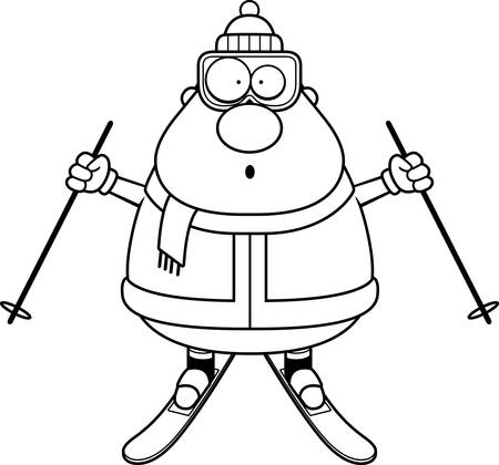 A cartoon illustration of a skiing man looking surprised. Illustration