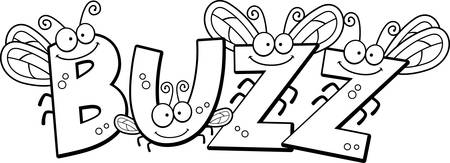 buzz: A cartoon illustration of the text Buzz with a fly theme.