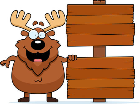 wooden post: A cartoon illustration of a moose with a sign.