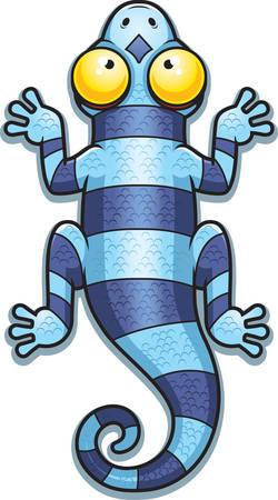 newt: A cartoon illustration of a blue lizard with stripes.