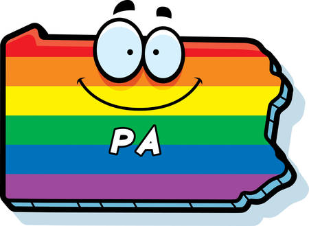 rainbow flag: A cartoon illustration of the state of Pennsylvania smiling with rainbow flag colors. Illustration