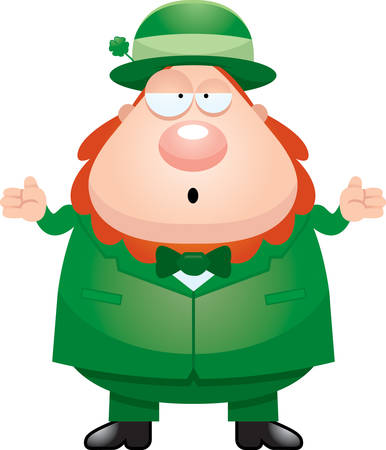 A cartoon illustration of a leprechaun looking confused. Ilustração