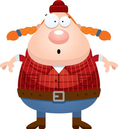 franela: A cartoon illustration of a lumberjack looking surprised.