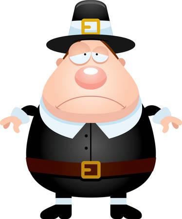 pilgrim: A cartoon illustration of a pilgrim looking sad. Illustration