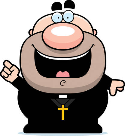 by the collar: A cartoon illustration of a priest with an idea.