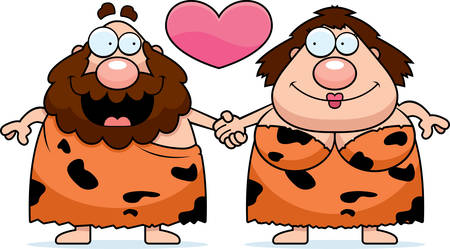 couple holding hands: A cartoon illustration of a caveman couple holding hands and in love.